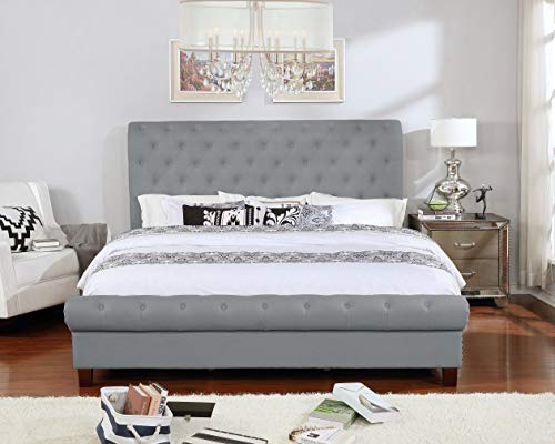 Bed Button Five Upholstered - NHI Express 55014-85GY Aidan Bed King Gray