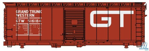Ho Scale Grand Trunk - Walthers HO Scale 40' AAR 1948 Boxcar Grand Trunk Western/GTW/Large Logo #516184