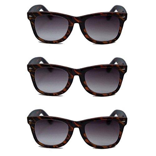 3 Pair Classic Wayfarer Full Reader Sunglasses NOT BiFocals- Tortoise 1.25 by Pink Ribbon Shades