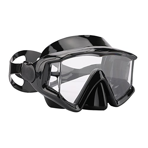 Diving Goggles, Optimum Diving Mask, Scuba Diving, Snorkeling Mask, Tempered Glass Lens,Anti Fog and Anti Leak, for Women Men Kids Adults Free Diving Swimming (PC Lens Black)