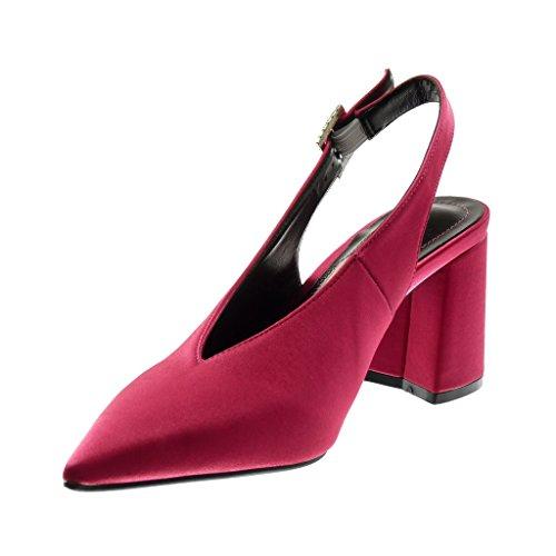 Angkorly Damen Schuhe Pumpe - Dekollete - Open-Back - Schleife - Strass Blockabsatz High Heel 8.5 cm Fushia