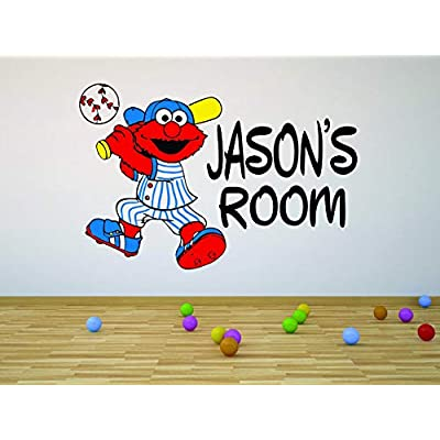 Sesame Street Elmo Baseball Cartoon Customized Wall Decal - Custom Vinyl Wall Art - Personalized Name - Baby Girls Boys Kids Bedroom Wall Decal Room Decor Wall Stickers Decoration Size (12x20 inch): Baby