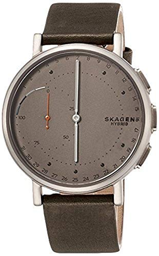 Skagen Connected Men's Signatur Titanium and Leather Hybrid Smartwatch, Color: Silver-Tone, Green (Model: SKT1114)