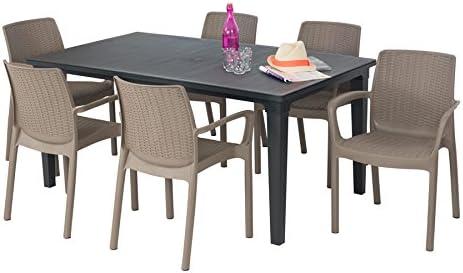 ALLIBERT Salon de Jardin: Table Graphite + 6 fauteuils Taupe ...