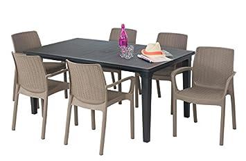 ALLIBERT Salon de Jardin: Table Graphite + 6 fauteuils Taupe: Amazon ...