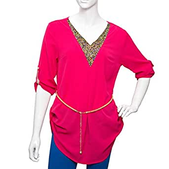 Damacseno Pink Mixed V Neck Blouse For Women