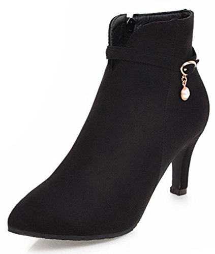 Side Elegant Boots Ankle Pendants IDIFU Toe Suede Short Black Women's Pointed With Faux Heels Zipper Pwqw0v5