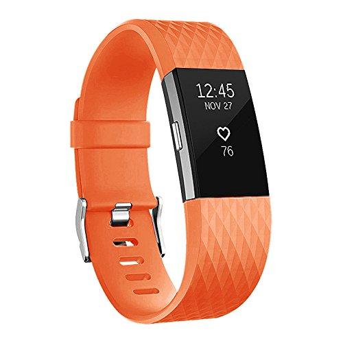 (POY Replacement Bands Compatible for Fitbit Charge 2, Classic & Special Edition Sport Wristbands, Orange Small, 1PC)