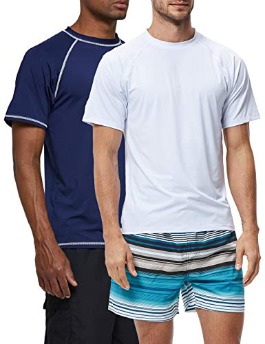SILKWORLD Men's 2 Pack Rashguard UPF 50+ Swim Shirt Quick-Dry Beach Tee, White+Navy Blue,Small (Best Way To Workout Your Chest At Home)