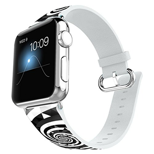 Apple Watch Band 38MM 100% Leather + Stainless Steel Connector iWatch Bands for Apple Watch 38mm - Black and white geometric swirl (Swirl Connector)