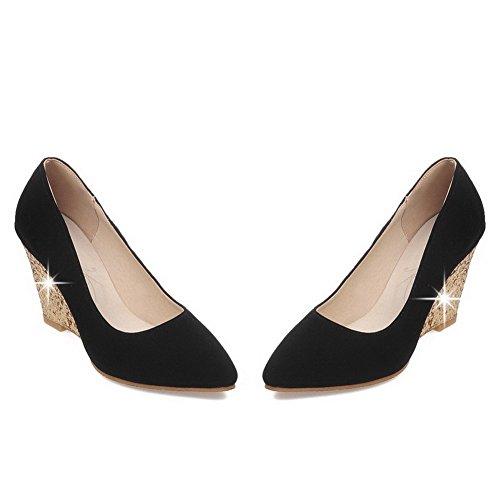 AgooLar Damen Rein Mattglasbirne Hoher Absatz Spitz Zehe Ziehen auf Pumps Schuhe Schwarz