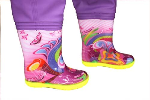 Kids Chest Waders for GIRLS Fishing boots splash  LUCKY PINK HEARTS pink