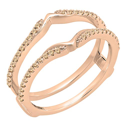 (Dazzlingrock Collection 0.25 Carat (ctw) 18K Round Champagne Diamond Wedding Band Double Ring 1/4 CT, Rose Gold, Size)