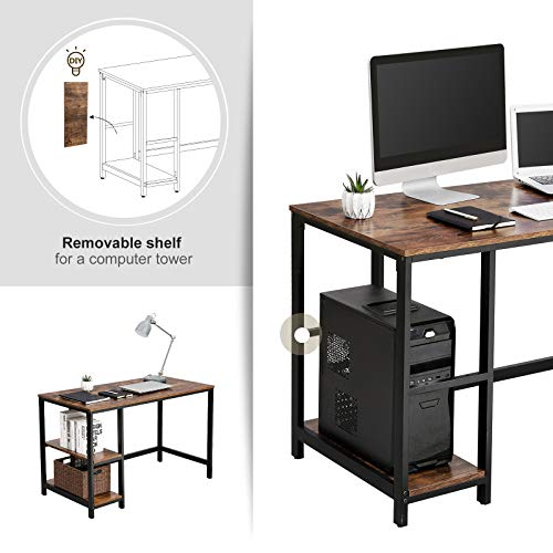 VASAGLE Industrial Writing, Computer, 47'' Office Study Desk with 2 Storage Shelves on Left Right, Stable Metal Frame, Easy Assembly ULWD47X, Rustic Brown by VASAGLE (Image #3)