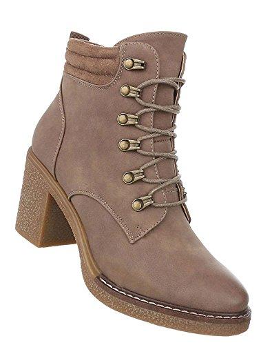 Damen Stiefelette Leder-Optik | Strass Boots | Kurzschaft Stiefelette | Knöchelhohe Stiefel | Plateau Stiefeletten | Absatz Stiefelette | Schuhcity24 Hellbraun