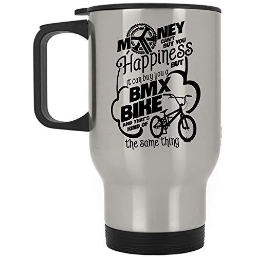 Christmas Mug, Gift For Cycling Mom Travel Mug, BMX Bike Mug (Travel Mug - Silver)
