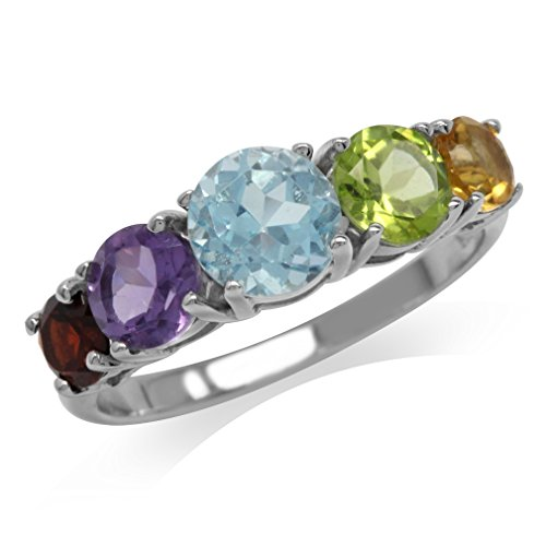 5-Stone Natural Garnet, Amethyst, Blue Topaz, Peridot & Citrine 925 Sterling Silver Ring Size 9