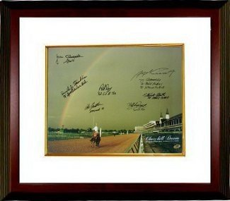 Stewart Elliott Signed Autograph Churchill Downs Kentucky Derby Winners 2004 Horse Racing Rainbow 16x20 Photo 7 signatures Deluxe Custom Framed - Autographed Racing Collectibles