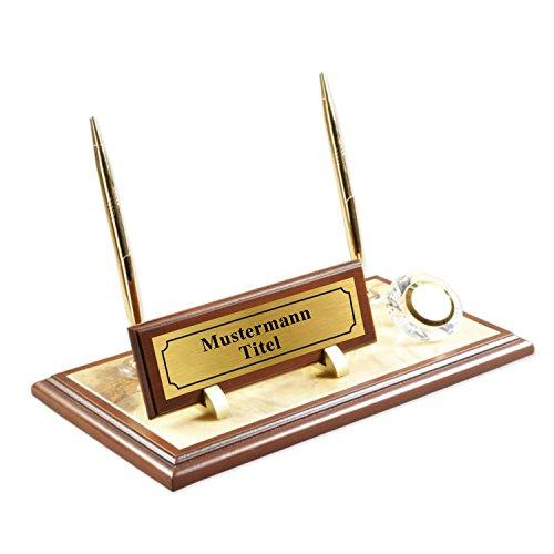 Lussodor Geca - Marble Desk Name Plate Personalized - Desk Plaque Personalized - Brown - Gold - Wood Carving - 2 Pieces of Golden Color Ballpoint Pen - Quartz Clock