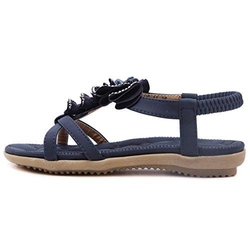 COOLCEPT Mujer Moda Punta Abierta Slingback Sandalias Chicas Colegio Elastico Zapatos with Floral Azul