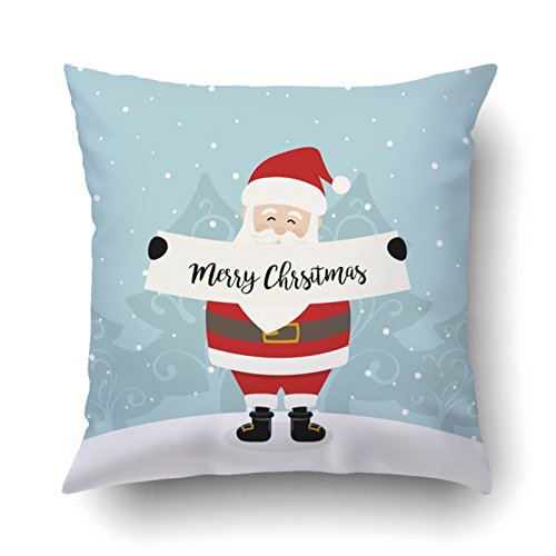 Emvency Pillowcases Xmas Dec Cute Santa Claus With Greetings Merry Christmas Pillow Case Cushion Cover Case Throw Pillow Case Square 16x16 - Small Hat French Black Victorian