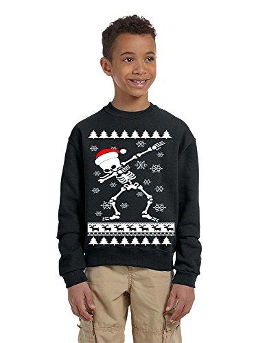 - Allntrends Kids Youth Sweatshirt Dabbing Skeleton Dab Ugly Xmas Present (M, Black)
