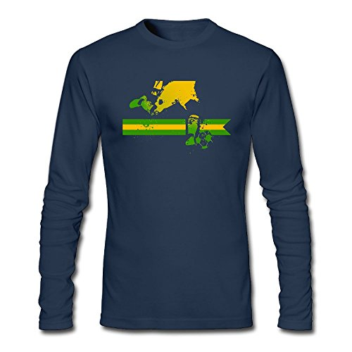 Brazil Soccer Mans' Fashion Print Long Sleeve Crewneck T - Airport Sydney Shopping