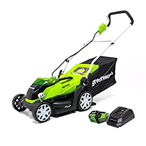 Greenworks 40V 14-inch Cordless Lawn Mower, 4.0 Ah Battery and Charger Included 2506302