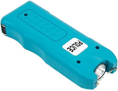 POLICE 628 Stun Gun - 58 Billion Mini Rechargeable with Siren Alarm LED Flashlight, Blue