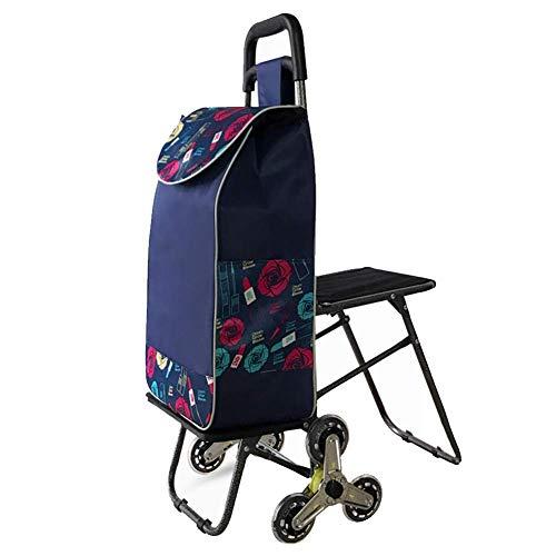 XAJGW Carrito de la Compra con Asiento Plegable y Carrito Bolsa de Ayuda para la Movilidad Carrito de la Compra Portador...