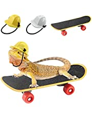 Vehomy Bearded Dragon Accessories Small Engineer Hat for Bearded Dragon Lizard Construction Helmet Hats and Mini Scooter for Hamster Lizard Parrot Reptile Small Animals 3Pcs