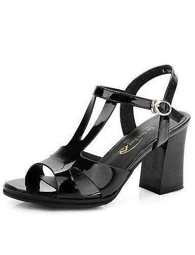 LFNLYX Zapatos de mujer-Tacón Robusto-Tacones / Punta Abierta-Sandalias-Vestido / Casual / Fiesta y Noche-Cuero-Negro / Rojo / Blanco White