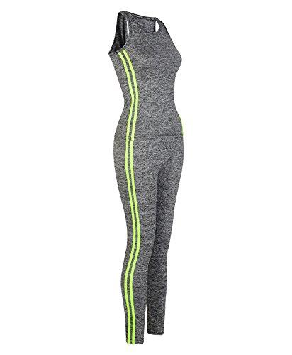 LotMart Veste DE Dames Leggings Longueur Maxi Salle de Sport Ensemble Femme 2 Line Yoga Costume Non Jaune