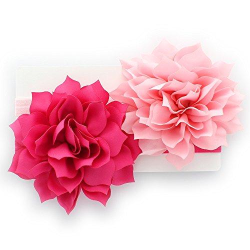 My Lello Toddler/LIttle Girls Fabric Petal Flower Headbands 2 Pack