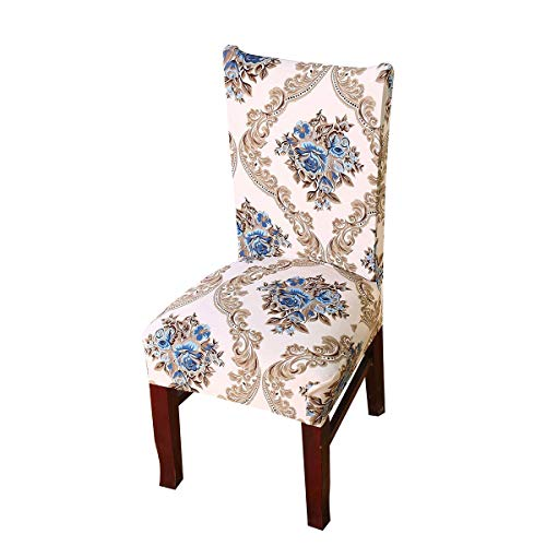 Vonty Floral Printed Dining Chair Cover Stretch Removable Chair Slipcover Protector 1 Piece, Blue Flower (Floral Chair Slipcover)