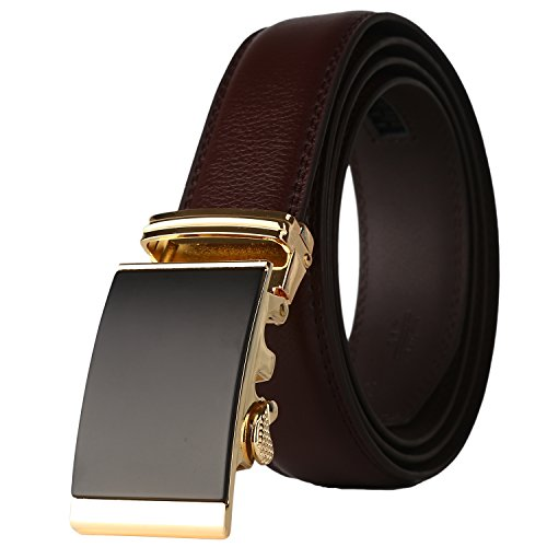 Lavemi Men's Real Leather Ratchet Dress Belt with Automatic Buckle,Elegant Gift Box(576-4 Brown leather) (Best Way To Trim Bangs)