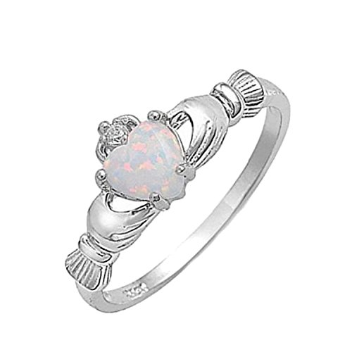 White Fire Opal Wide Band - Blue Apple Co. 925 Sterling Silver Claddagh Ring Lab Created White Opal Clear CZ Accent Wedding Ring