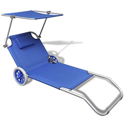 Sun Lounger Aluminium Recliner Outdoor Garden Patio Furniture Deck Chair Sunbed Folding Day Bed with Canopy and Wheels (Blue) for Patio Garden Backyard Poolside Balcony (Sun Lounger Furniture Aluminium Outdoor)