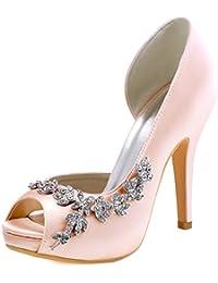 Women's Peep Toe Platform High Heel Rhinestones Satin...