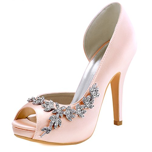 ElegantPark HP1560IAC Women's Peep Toe Platform High Heel Rhinestones Satin Wedding Party Dress Shoes Blush US 9