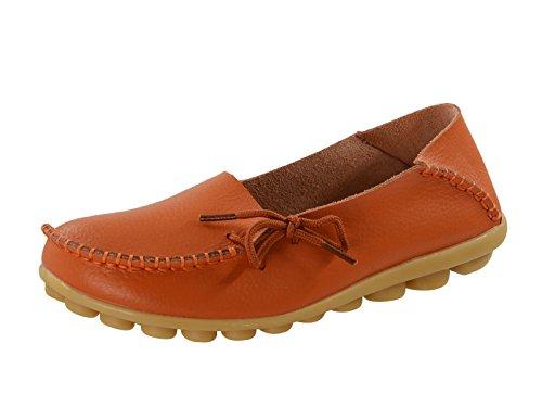 Eeuwige Ster Dames Geknoopte Veter Laars Lederen Loafer Mocassin Bootschoenen Slipper Mocassin Oranje