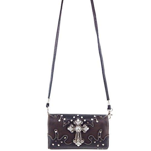 Wallet Cross Studs Brown Purse Concealed Handbag Tote Shoulder Carry Wallet West Justin Crossbody qv4BwSxC