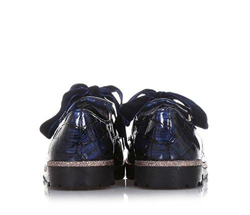ELI Blauer Halbschuh Aus Lackleder, Handgemacht in Spanien, Schnürsenkel Aus Samt, Mädchen-31