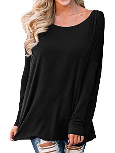 Inorin Womens Long Sleeve T-Shirt Casual Oversized Sweatshirt Baggy Plain T Shirts (Loose Fitting Pullover)