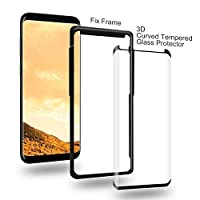 Galaxy S8 Glass Screen Protector,Auideas [Case Friendly] [Tray Installation] 3D Curved Tempered Glass Screen Protector For Samsung Galaxy S8(Black). by Auideas