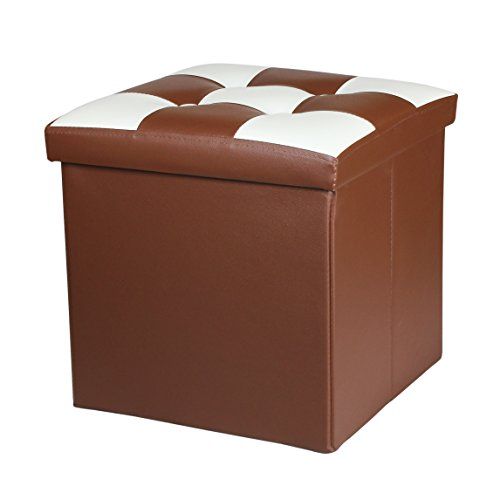 NISUNS OT02 Folding Storage Ottoman Cube Foot Rest Stool Seat.15″x15″x15″ (Light Brown/White) For Sale