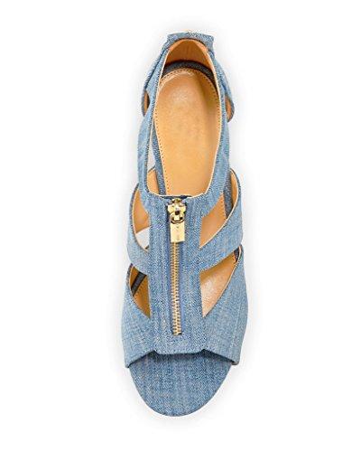 Femmes Wedge hauts Denim Vamp Kolnoo Tamitta blue Sandal Chaussures à d'été Cutout talons 6qAgwxdwa