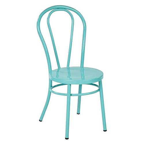 Work Smart/OSP Designs Odessa Metal Dining Chair with Backrest (2 Pack), Pastel Teal