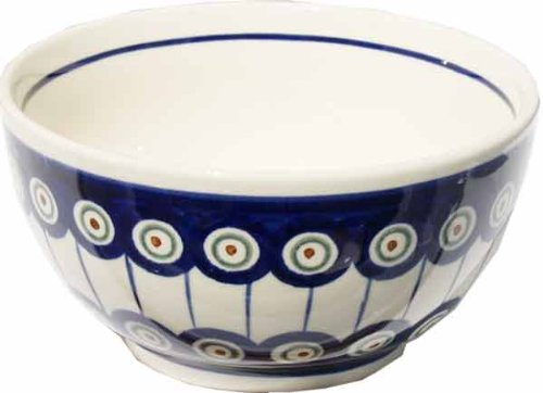 Polish Pottery Ice Cream / Cereal Bowl From Zaklady Ceramiczne Boleslawiec #971-8 Traditional Pattern, Height: 2.8