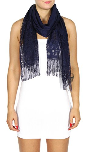 Print Shawl Scarf Lightweight, Women, Girl, Floral lace Navy, by SERENITA